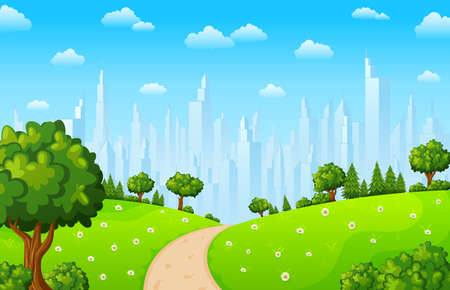 Vector illustration of Green landscape with trees and town buildings Illustration