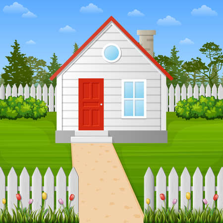 Vector illustration of Suburban house with autumn tree and city background  イラスト・ベクター素材