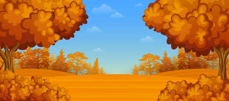 Vector illustration of Autumn forest landscape