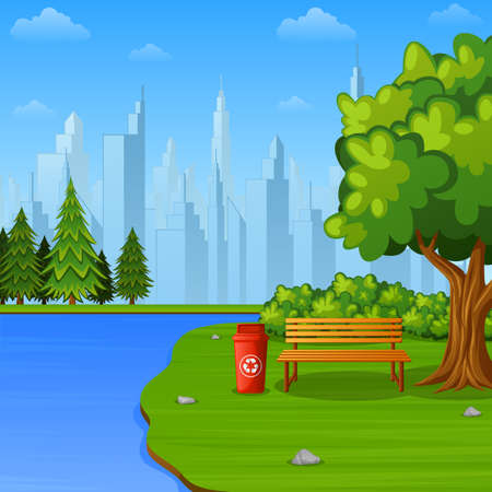 Cartoon illustration of city park bench under big tree with trash bin near the river Ilustração