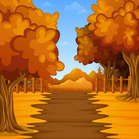 Vector illustration of Cartoon autumn landscape with mountains Ilustração