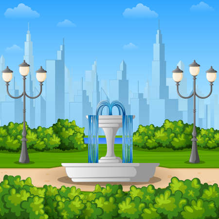Vector illustration of City park background with fountain