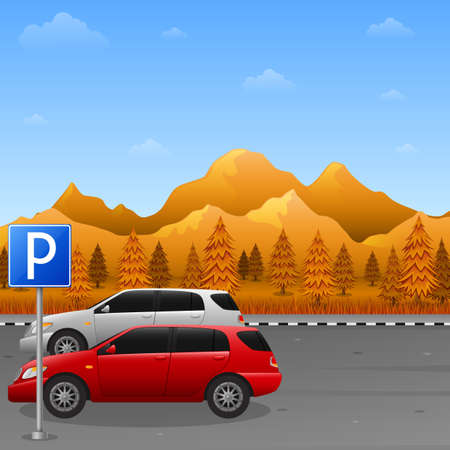 Vector illustration of Autumn mountains landscape with parking zone sign and two car