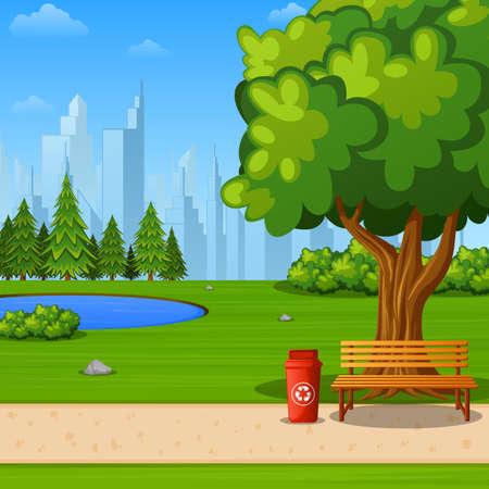 Illustrazione vettoriale del parco cittadino con panchina sotto il grande albero e lo sfondo della città Vettoriali