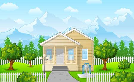 Vector illustration of Cartoon family house on mountain against the blue sky background