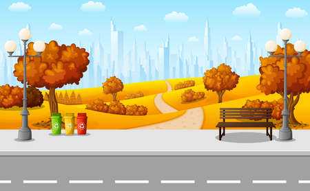 Vector illustration of Autumn city park with bench and streetlight on suburban