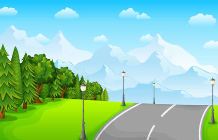 Vector illustration of Green landscape with mountains and road Фото со стока