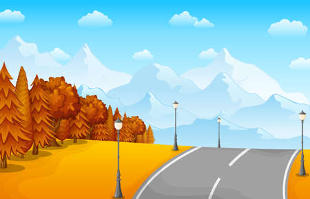 Autumn landscape with mountains and road