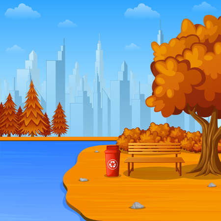 Vector illustration of Autumn city park with bench and trash bin near the river Ilustração