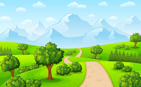 Vector illustration of Green landscape with mountains and trees