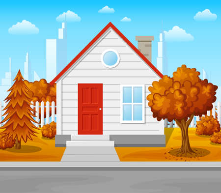 Vector illustration of Suburban house with autumn tree and city background Illustration