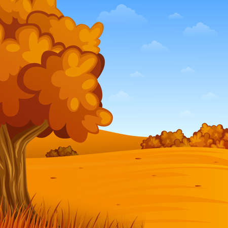 Cartoon autumn landscape vector illustration.