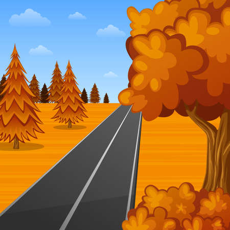 Beautiful autumn landscape with empty road.