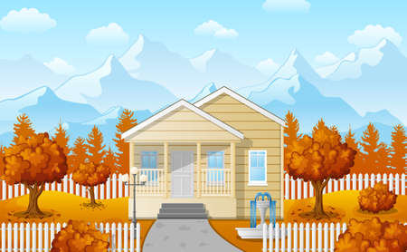 Vector illustration of Cartoon family house with mountain in fall season