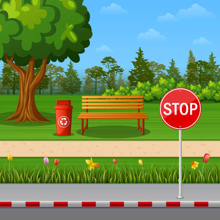 Park scenery with stop sign on town roadside and bench Stock Photo