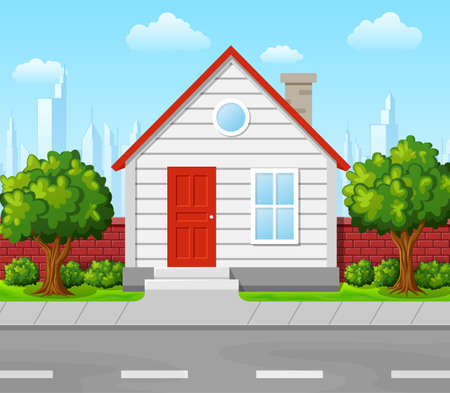 Suburban house with tree and city background Stock Photo