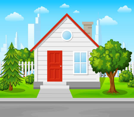 Suburban house with trees and city background