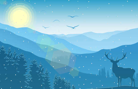 Vector illustration of Winter mountain landscape with deer and forest at falling snow