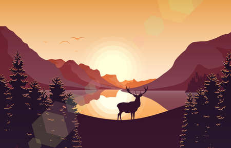 Vector illustration of Mountain landscape with deer in a forest and lake at sunset