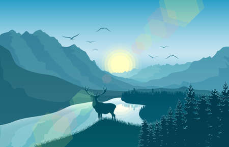 Vector illustration of Mountain landscape with deer in a forest near a lake