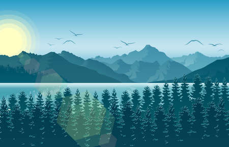 Vector illustration of Winter morning in mountain landscape with forest and river