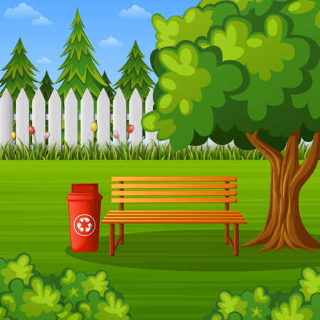 Green park with wooden bench and trash bin Stock Photo