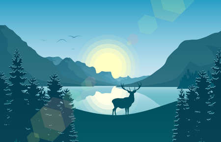 Mountain landscape with deer in a forest and lake