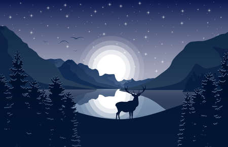 Mountain landscape with deer in a forest and lake at night vector illustration.