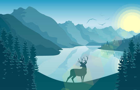 Mountain landscape with deer in a forest and lake vector illustration.