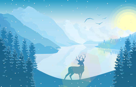 Winter mountain landscape with deer in a forest and lake at sunrise vector illustration.