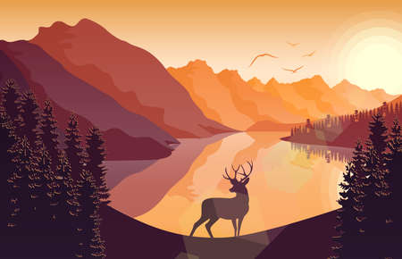 Mountain landscape with deer in a forest and lake at sunset vector illustration. Illustration
