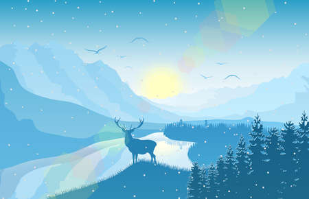 Winter mountain landscape with deer in a forest near a lake vector illustration.