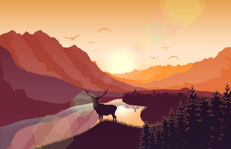 Sunset mountain landscape with deer in a forest near a lake vector illustration.