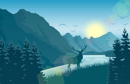 Mountain landscape with deer in a forest near a lake vector illustration.