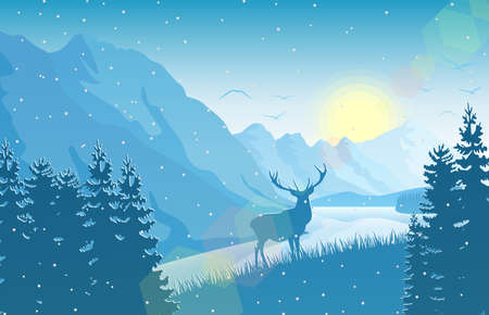 Vector illustration of Winter mountain landscape with deer in a forest near a lake Illustration