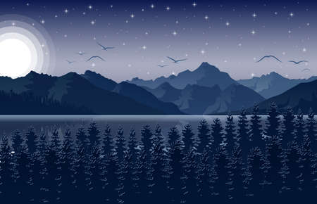 Night mountains landscape with forest and river on starry sky