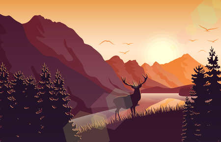 Sunset mountain landscape with deer in a forest near a lake