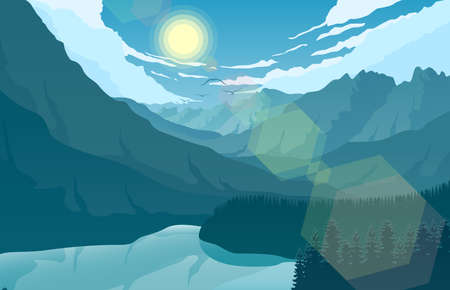 Mountain landscape with and lake at sunrise