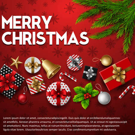 Vector illustration of Christmas background with elements on red background Illustration