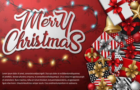 Vector illustration of Merry christmas typographical with different gift box and christmas elements on red background Ilustração