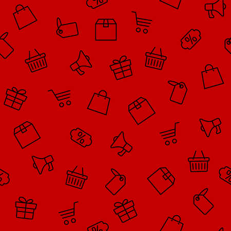 Vector illustration of Black Friday icons set on red background
