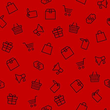 Vektorillustration der schwarzen Freitagikonen stellte auf roten Hintergrund ein
