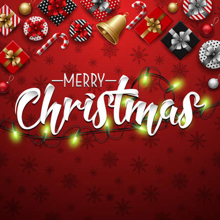 Vector illustration of Christmas typographical red background with lights bulb and elements