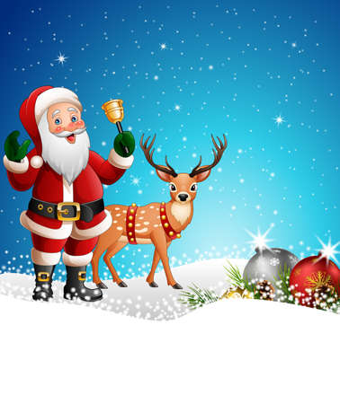 Christmas background with Santa Claus ringing bell