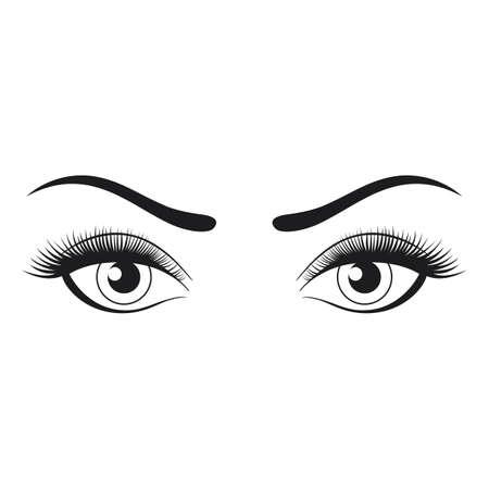 Female eyes and eyebrows isolated on white background