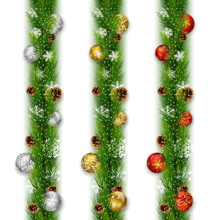 Christmas garlands with balls and pine cones