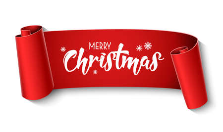 Red curved paper merry christmas banner isolated on white background