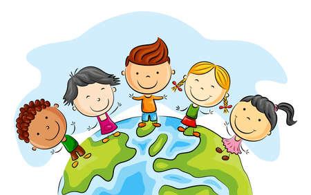 Dibujos animados de niño feliz de pie alrededor del mundo