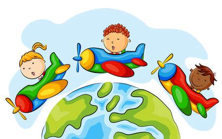 Group of children riding airplane around the world