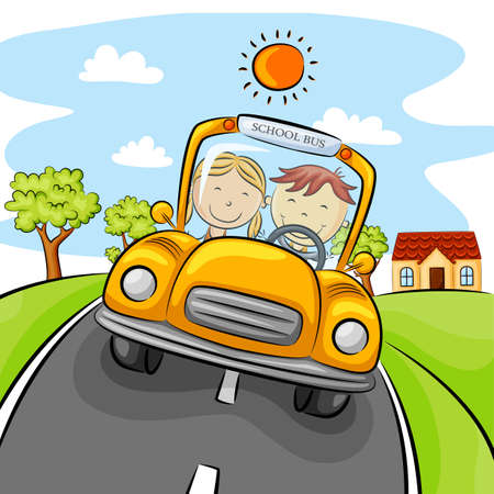 Children driving yellow car on the street
